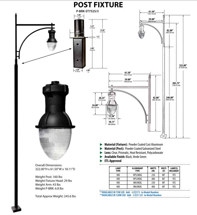 Parking Lot Lighting Watts Per Square Foot: GM 9290 Powder-coated Cast Aluminum LED Post Light