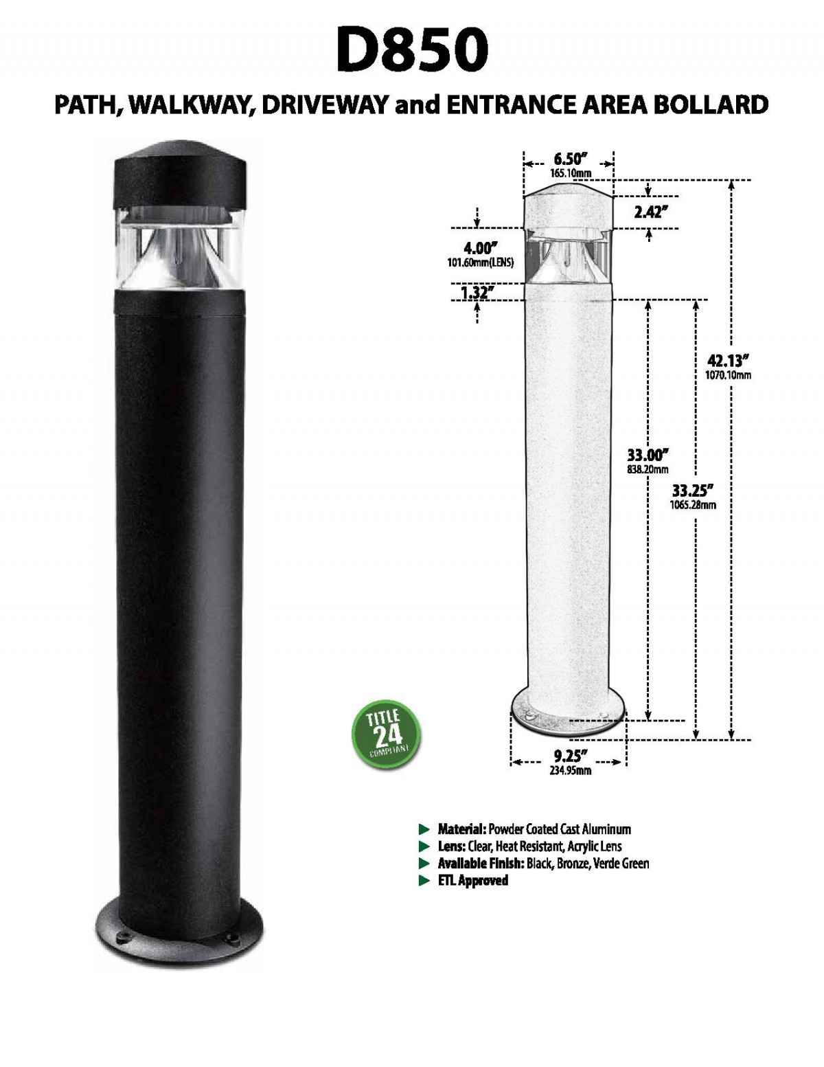 D 850 Heavy Duty Cast Aluminum Bollard Light Illuminator