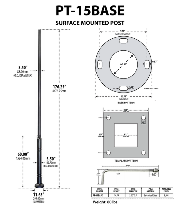 pt 13 commercial grade powder coated galvanized steel post and base