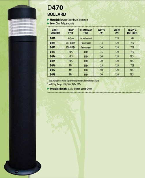 D 470 Heavy Duty Cast Aluminum Bollard Light