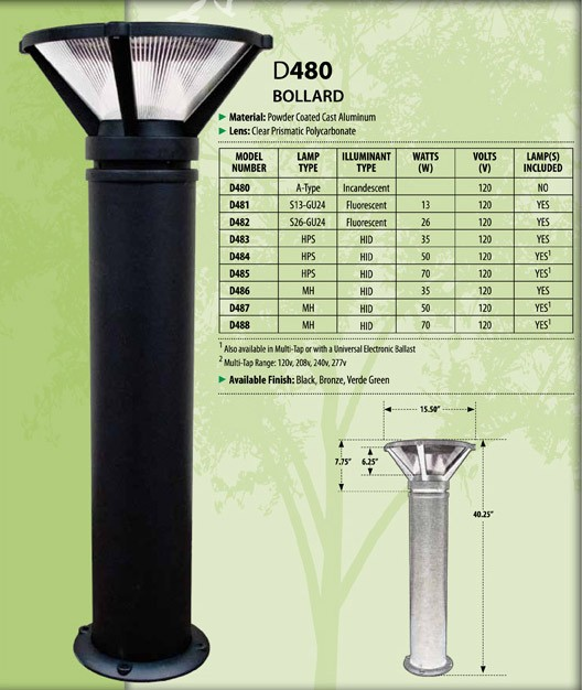 D 480 Heavy Duty Cast Aluminum Bollard Light