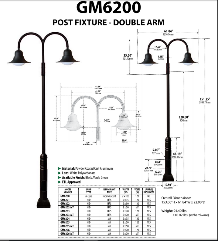 GM 6200  Powder-coated cast aluminum Pole Light / Parking lot lighting / Street Light / Dark Sky